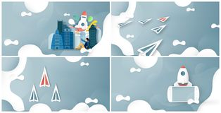 Vector illustration with start up concept in paper cut, craft and origami style. Rocket is flying on blue sky. Template design for. Web banner, poster, cover royalty free illustration