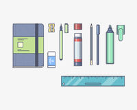 Vector illustration. Stationery set with a pen Royalty Free Stock Photo