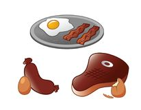 Steak and Eggs collection Royalty Free Stock Images