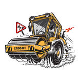 Vector illustration of steamroller with smoke under the wheels Royalty Free Stock Images