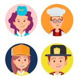 Four Icons of Children in Adult Occupations Flat. Vector illustration of stewardess in blue forage-cap, chief food in white toque, builder in yellow helmet and Royalty Free Stock Photo