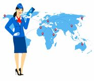 Vector illustration of a stewardess in blue uniform holding tickets in hand Royalty Free Stock Photo