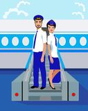Stewardess and the commander of the ship. Vector Illustration. Stewardess and the commander of the shipare standing on the ladder Stock Photos