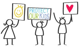 Vector illustration of stick figures holding up signs, protect our kids, love. Isolated on white background Royalty Free Stock Photography