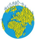 Vector illustration of stick figures people standing on earth globe. Isolated on white background Stock Images