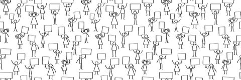 Vector illustration of stick figures protesting, holding up blank signs, seamless banner. Isolated on white background Stock Photos