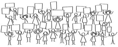 Vector illustration of stick figures protesting, holding up blank signs. Isolated on white background Stock Photos