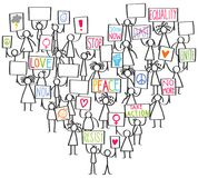 Vector illustration of stick figures protesting for peace and equality, holding up signs standing in shape of heart. Isolated on white background Royalty Free Stock Photography