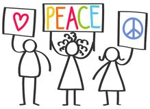 Vector illustration of stick figures protesting for peace and love, holding up signs stock image