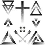 Vector illustration with stippling of the triangle, arrow, cross, Royalty Free Stock Images