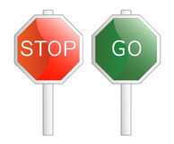 Vector illustration. Stop and Go signs. Royalty Free Stock Photo