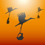 Vector illustration of a stork with a baby Royalty Free Stock Photo