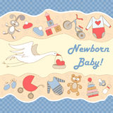 Vector illustration with stork and symbols of newborn Royalty Free Stock Photo