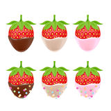 Vector illustration of strawberries in chocolate. Royalty Free Stock Photo