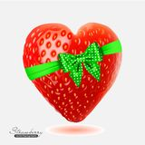 Strawberry in the form of heart. Vector illustration of strawberry in the form of heart with bow Stock Photos