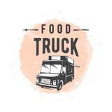 Vector illustration of street food truck graphic badge. Set. Food old logo design. Foodstuffs background printable. Vintage kitchen print element with fork and vector illustration