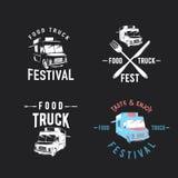 Vector illustration of street food truck graphic badge set. Food old logo design. Foodstuffs background printable. Vintage kitchen print element with fork and stock illustration