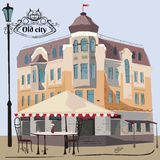 Vector illustration of street scene with cafe. Old city, illustration, isolated vector illustration