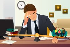 Stressed Businessman Choosing Between Career and Family stock illustration