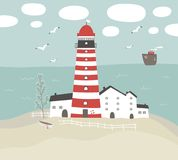 Vector illustration with striped lighthouse Stock Photo