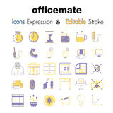 Vector illustration of stroke editable icons for Office Related. Vector Line Icons.- Emoji and Graphs line icons Vector Icons,Emoji,expression,angry,Office Royalty Free Stock Image