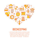 Vector illustration with stroked colorful honey and beekeeping icons Stock Image