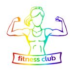 Vector colourful Fitness club logo with female silhouette. Vector illustration with strong woman doing bicep curl. Fitness club logo template with a place for Royalty Free Stock Images