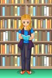 Student Girl Reading in the Library Illustration. A vector illustration of Student Girl Reading in the Library royalty free illustration