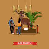 Vector illustration of stuffed deer and visitors in zoological museum. Vector illustration of stuffed deer in zoological museum. Visitors young man and woman Royalty Free Stock Photography