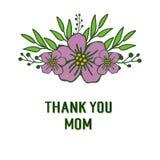 Vector illustration style card thank you mom for various artwork purple flower frame vector illustration