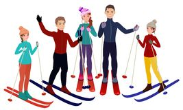 Group of skiers on white background in cartoon style vector illustration
