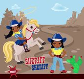 Two girls cowboys on a stony desert background. Vector illustration in the style of the wild west Stock Images