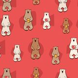 Vector illustration with stylish cartoon seamless pattern. Bear with honey, hearts. red brown white doodle style print vector illustration