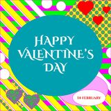 Vector illustration of stylish 14 february happy Valentines day greeting card  Royalty Free Stock Photos