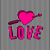 Vector illustration of stylish love 3d text sign, arrow and pink heart. On striped background in the Memphis style Stock Images