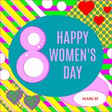 Vector illustration of stylish 8 march happy women`s day greeting card with lettering typography text sign, hearts,  big rough st. Ripes in Memphis style Royalty Free Stock Image