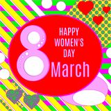 Vector illustration of stylish 8 march happy women`s day greeting card with lettering typography text sign, hearts,  big rough st. Ripes in Memphis style Stock Images