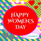 Vector illustration of stylish 8 march happy women`s day greeting card with lettering typography text sign, hearts,  big rough st. Ripes in Memphis style Royalty Free Stock Photography