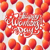 Vector illustration of stylish 8 march womens day with text sign and red heart balloon for greeting card, banner, gift packaging. Vector illustration of stylish stock photo
