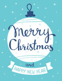 Vector illustration of stylish white color christmas ball with h. Andwritten text merry christmas on blue background with snow. Flat style design for web, site Stock Photography
