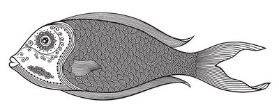 Vector illustration of  stylized abstract fish in black color. Anti-stress coloring for adult. Royalty Free Stock Photo