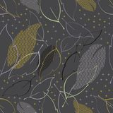Floral seamless pattern with leaves and stars. royalty free illustration