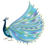 Vector illustration of stylized abstract peacock with luxurious tail Stock Photos