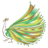 Vector illustration of stylized abstract peacock Stock Image