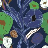 Vector illustration of stylized airy, abstract blue poppies and tulips stock illustration