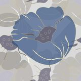 Vector illustration of stylized airy, abstract blue poppies royalty free illustration
