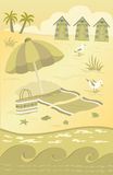 At the Beach. Vector illustration of a stylized beach scenery. Eps10 Royalty Free Stock Photography