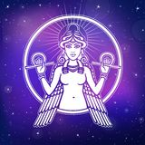 Vector illustration: stylized goddess Ishtar. Stock Photo