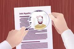 Job Application/Resume Search. Vector illustration on the subject of `Employment/Job Search Stock Images