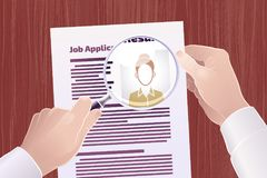 Job Application/Resume Search. Vector illustration on the subject of `Employment/Job Search Stock Photography